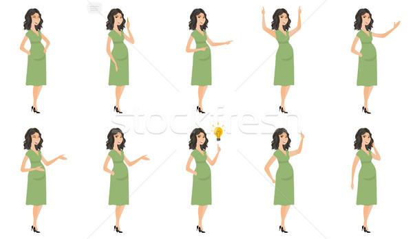 ストックフォト: 白人 · 妊婦 · ベクトル · イラスト · セット · 小さな