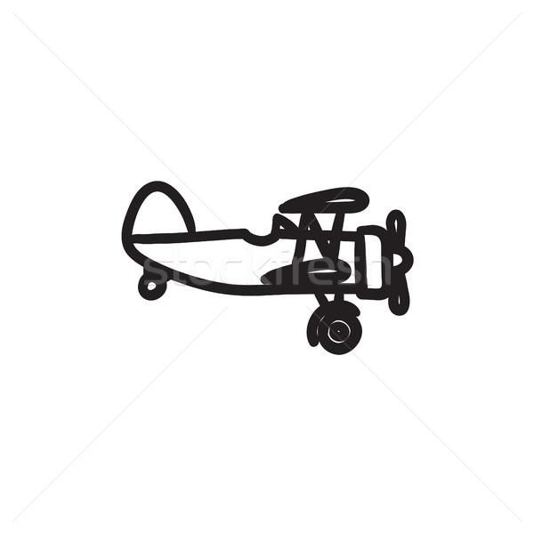 Stock photo: Propeller plane sketch icon.