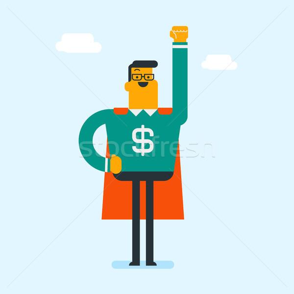 Adam süper kahraman takım elbise dolar işareti genç Stok fotoğraf © RAStudio