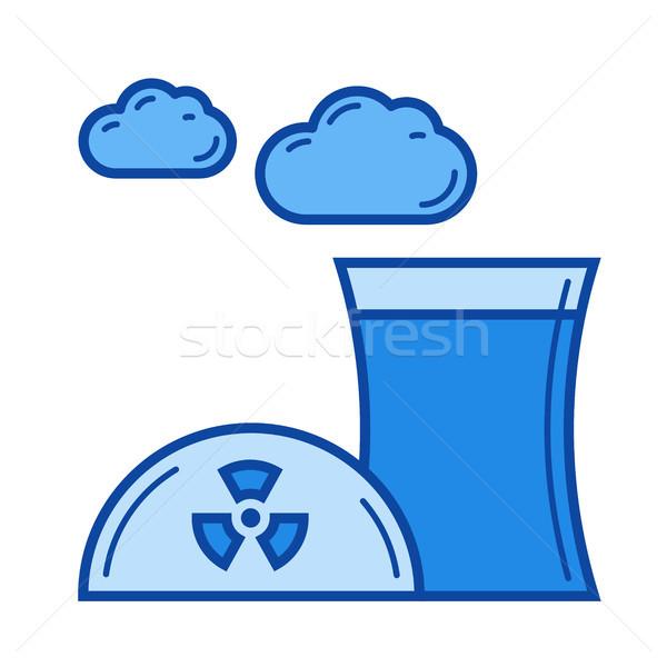 Foto stock: Nuclear · poluição · linha · ícone · vetor · isolado