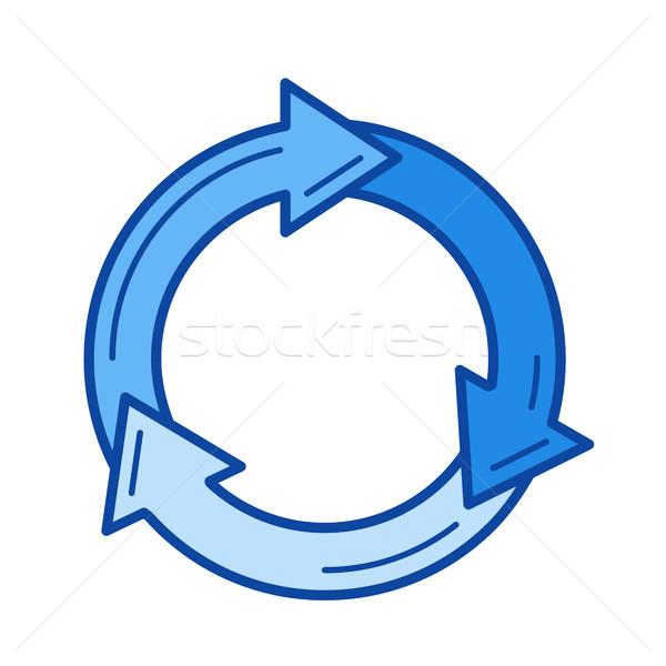 Prullenbak recycleren lijn icon vector geïsoleerd Stockfoto © RAStudio