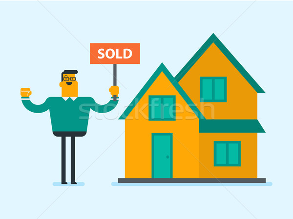 Caucasian real estate agent with sold placard. Stock photo © RAStudio