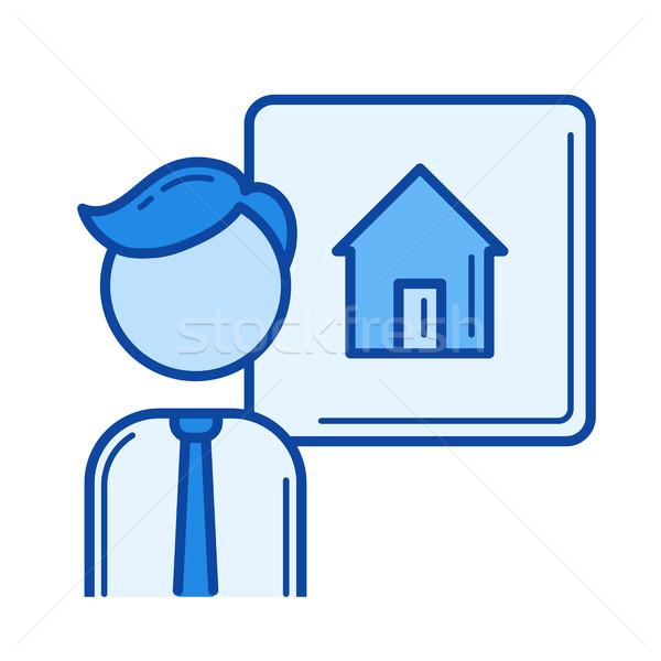 Haus Verkäufer line Symbol Vektor isoliert Stock foto © RAStudio
