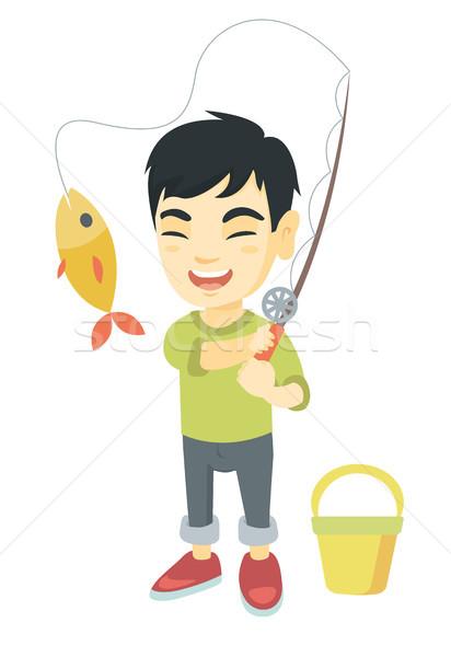 Mały chłopca wędka ryb hak Zdjęcia stock © RAStudio