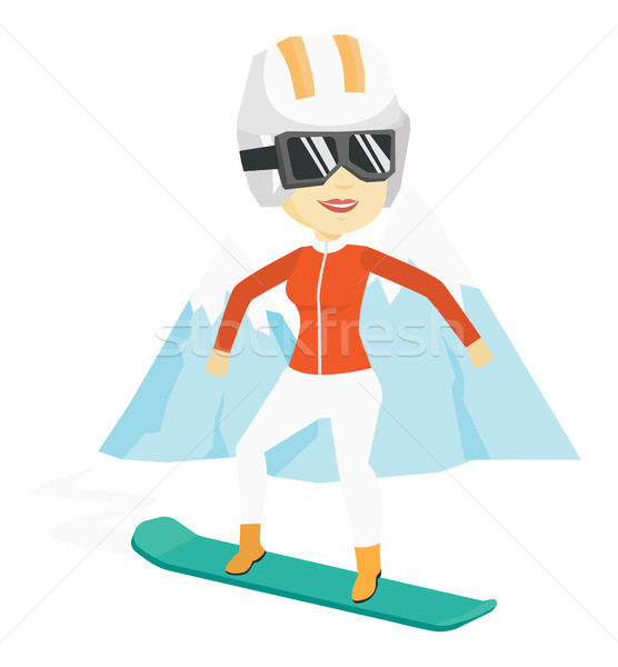 Foto stock: Mulher · jovem · snowboarding · asiático · mulher · neve · montanha
