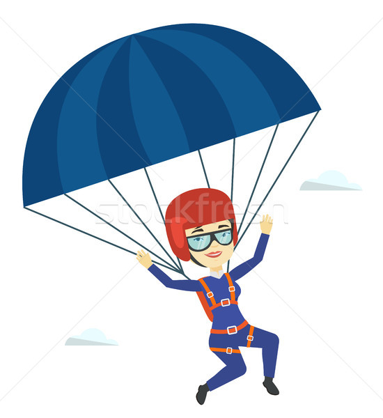 Young happy woman flying with parachute. Stock photo © RAStudio