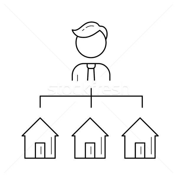 Agente immobiliare line icona isolato bianco vettore Foto d'archivio © RAStudio