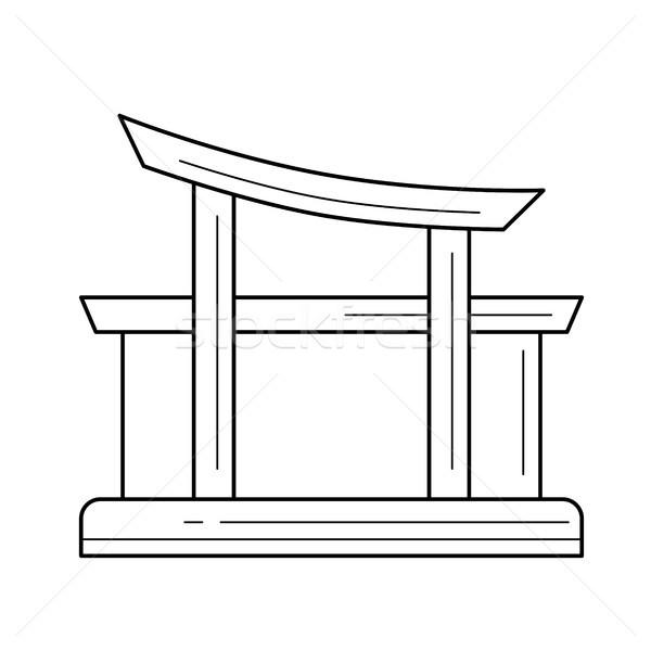 Utazás tájékozódási pont vonal ikon templom vektor Stock fotó © RAStudio