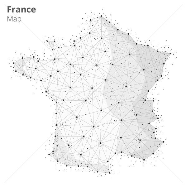 France map in blockchain technology network style. Stock photo © RAStudio