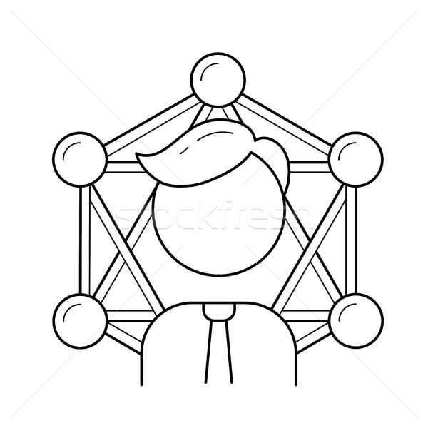 Бизнес-сеть линия икона вектора изолированный белый Сток-фото © RAStudio