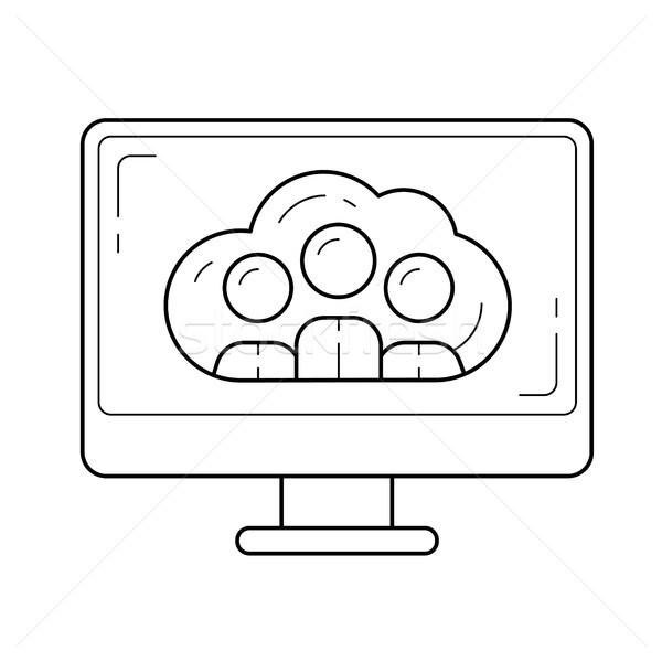 Foto stock: Línea · icono · vector · aislado · blanco