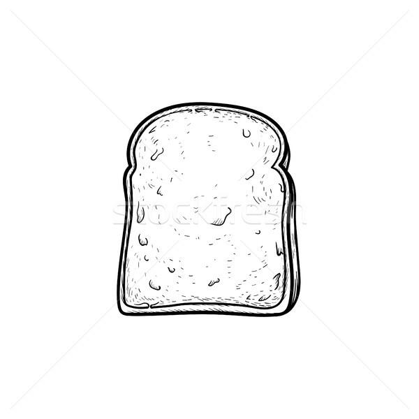 Teljeskiőrlésű búza pirítós kenyér kézzel rajzolt rajz ikon Stock fotó © RAStudio