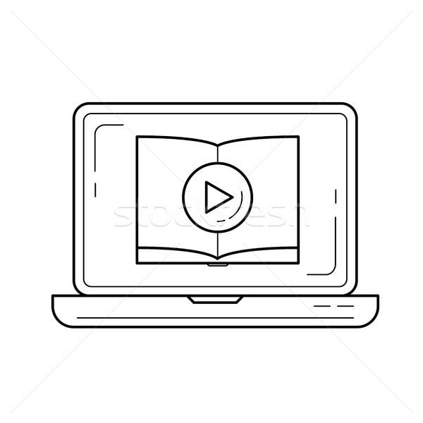 Vídeo tutorial vetor linha ícone isolado Foto stock © RAStudio