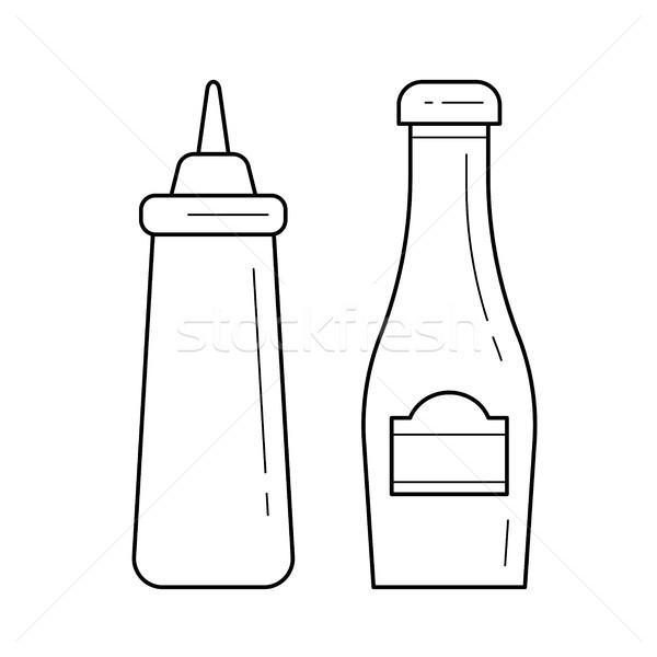 Stockfoto: Ketchup · mosterd · vector · lijn · icon · geïsoleerd