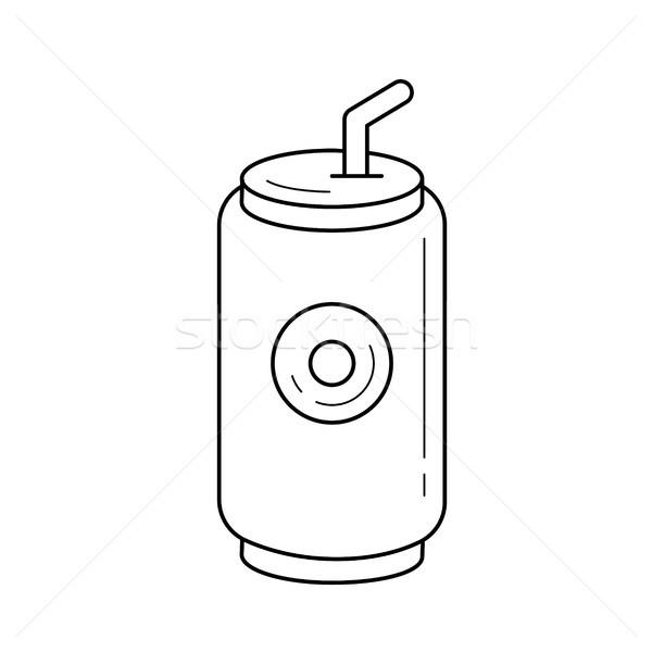 соды поп можете вектора линия икона Сток-фото © RAStudio
