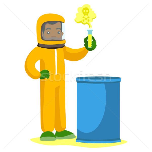 человека излучение костюм пробирку молодые ученого Сток-фото © RAStudio
