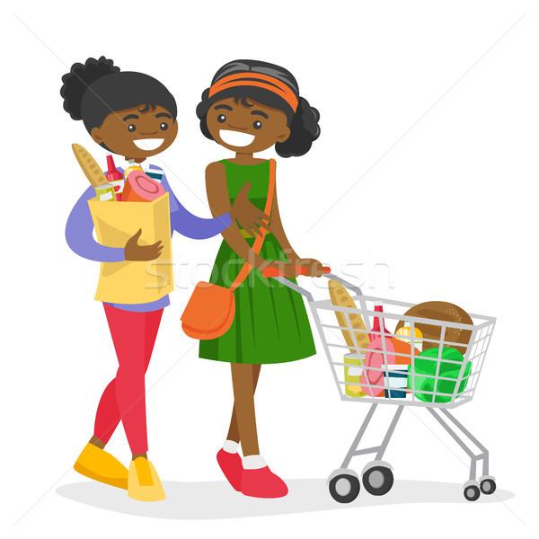 アフリカ 女性 ショッピング 食料品 ショップ 2 ストックフォト © RAStudio