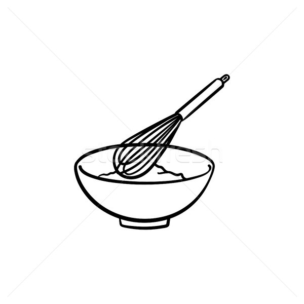 Mixing bowl with wire whisk hand drawn sketch icon Stock photo © RAStudio