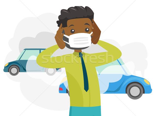 Férfi visel maszk mérgező levegő szennyezés Stock fotó © RAStudio