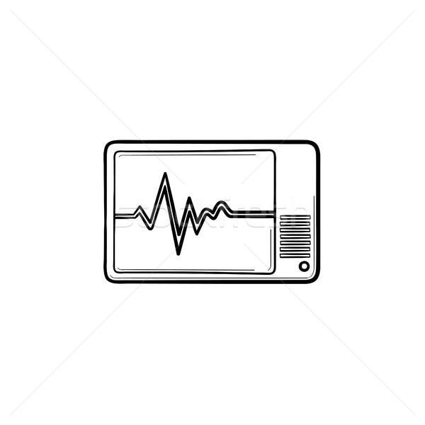 Saúde monitor rabisco ícone Foto stock © RAStudio