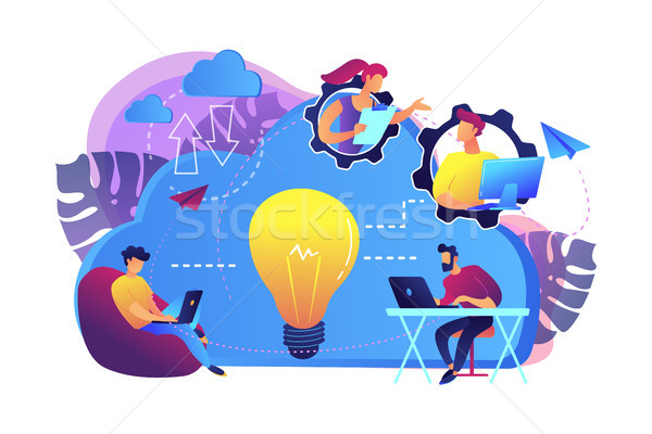 Cloud collaboration concept vector illustration. Stock photo © RAStudio