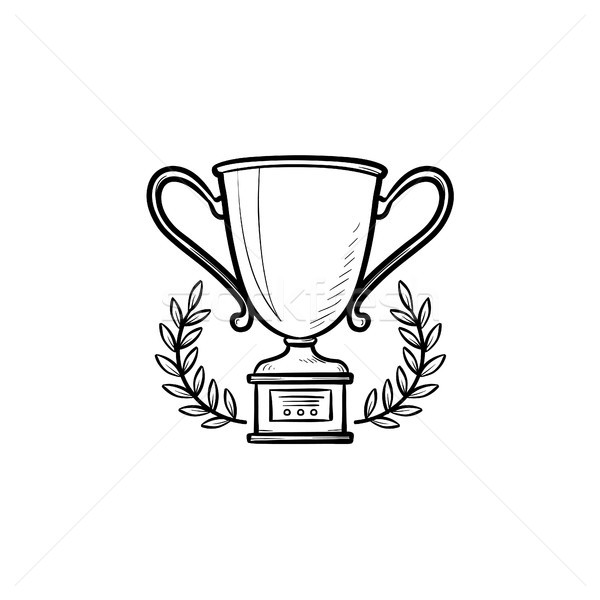 Trophy cup with laurel wreath hand drawn outline doodle icon. Stock photo © RAStudio
