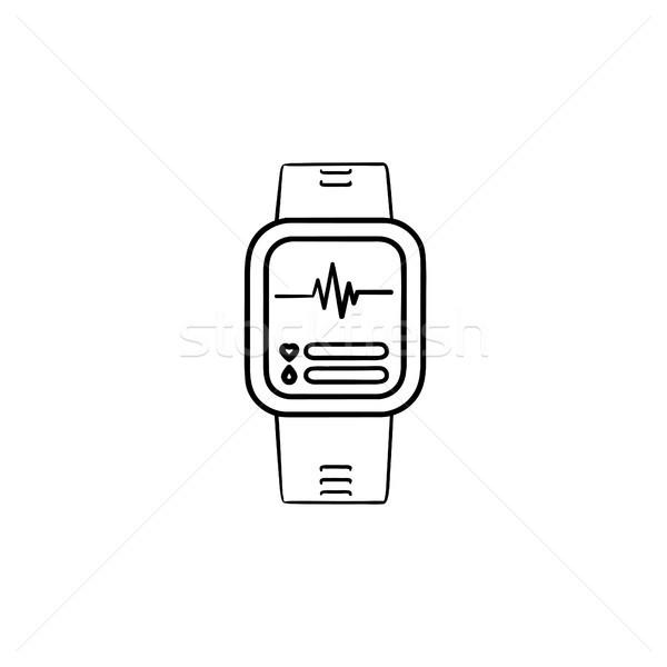 Smartwatch hand drawn outline doodle icon. Stock photo © RAStudio