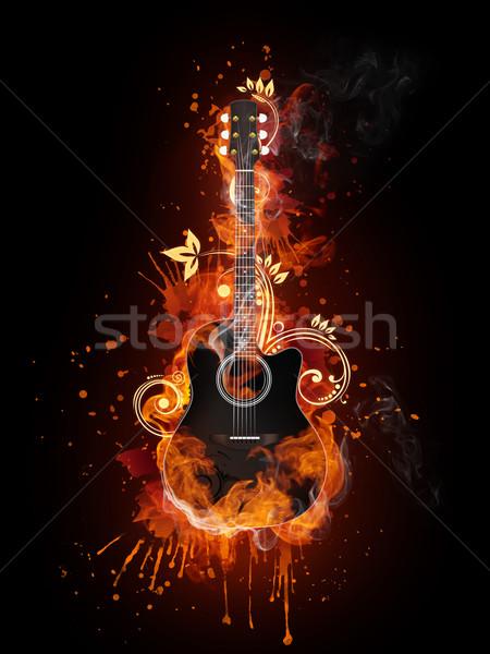 Akustik elektrogitar yangın alev yalıtılmış siyah Stok fotoğraf © RAStudio