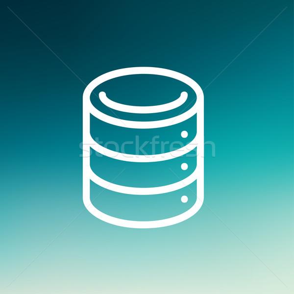 Stock fotó: Számítógép · szerver · vékony · vonal · ikon · háló