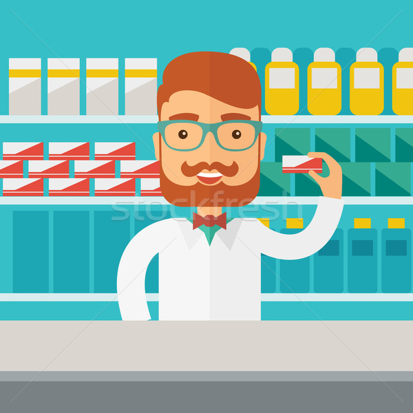 Jonge apotheek scheikundige man permanente drogist Stockfoto © RAStudio