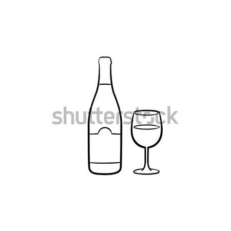 Bottiglia whisky vetro sketch icona whiskey Foto d'archivio © RAStudio