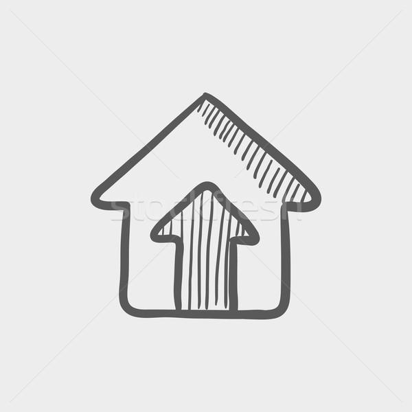 Huis entree schets icon web mobiele Stockfoto © RAStudio