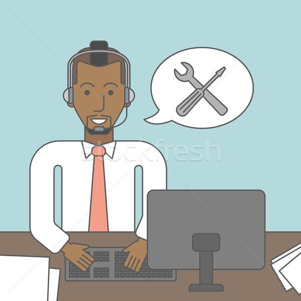 Technische ondersteuning exploitant vergadering bureau vector lijn Stockfoto © RAStudio
