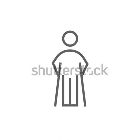 Hombre muletas línea icono web móviles Foto stock © RAStudio