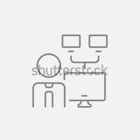 Netwerk beheerder lijn icon man web Stockfoto © RAStudio