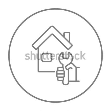 Stock photo: House repair line icon.