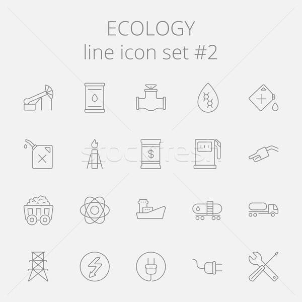 Ecologie vector donkergrijs icon geïsoleerd Stockfoto © RAStudio