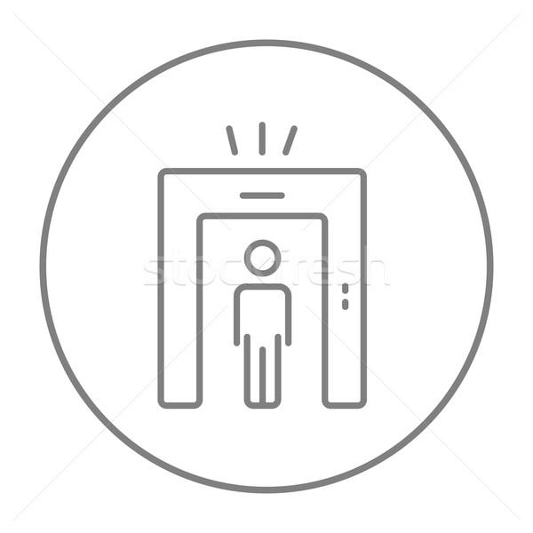Férfi fém detektor kapu vonal ikon Stock fotó © RAStudio