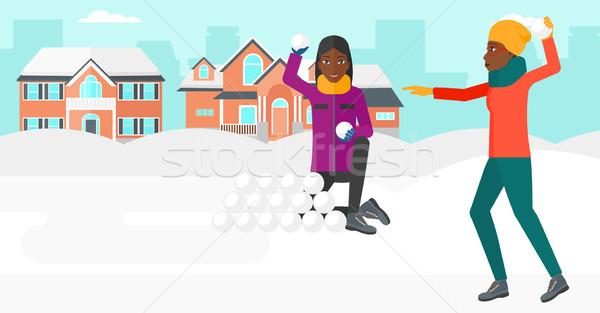 Kadın oynama açık havada şehir vektör dizayn Stok fotoğraf © RAStudio