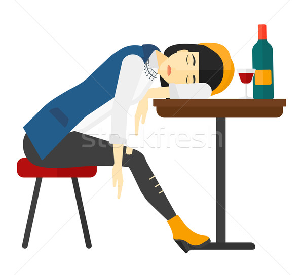 Woman sleeping in bar.  Stock photo © RAStudio