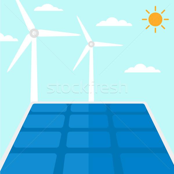 Background of solar panels and wind turbines. Stock photo © RAStudio