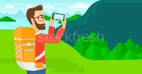 Hátizsákos turista elvesz fotó hipszter férfi szakáll Stock fotó © RAStudio