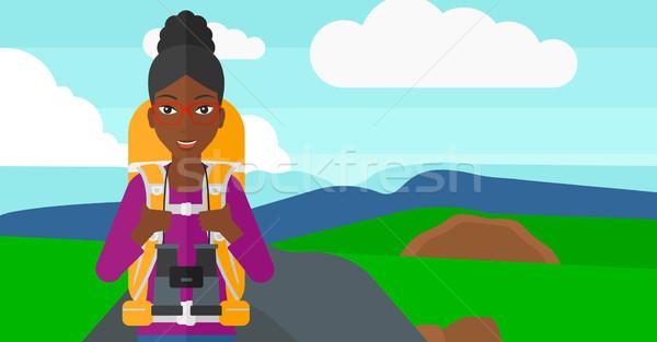 пеший турист бинокль женщину рюкзак походов Сток-фото © RAStudio