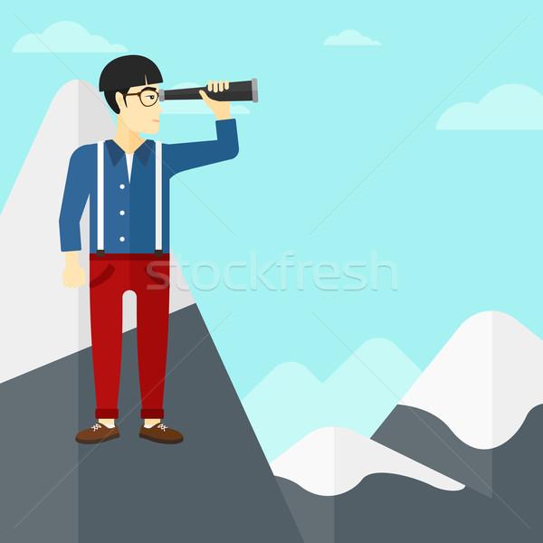 Affaires regarder asian homme permanent haut Photo stock © RAStudio