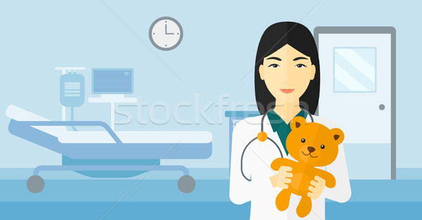 Pediatra ursinho de pelúcia asiático hospital vetor Foto stock © RAStudio