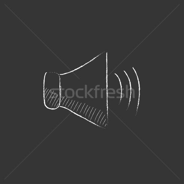 Stock fotó: Hangszóró · hangerő · rajzolt · kréta · ikon · kézzel · rajzolt
