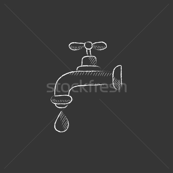 Dripping tap with drop. Drawn in chalk icon. Stock photo © RAStudio
