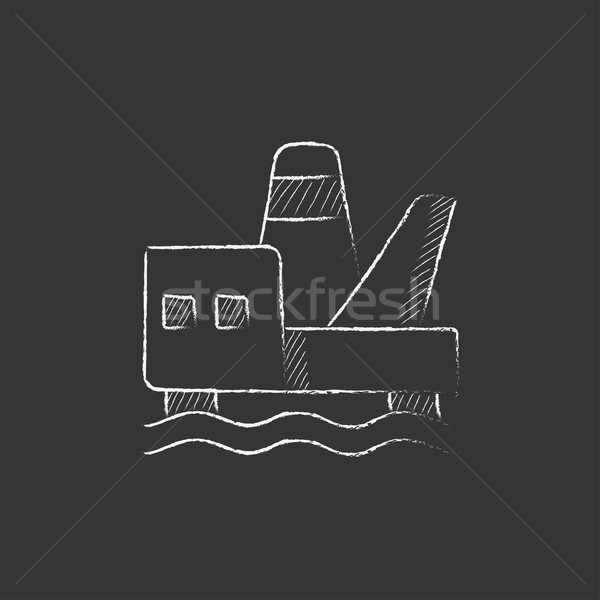 Offshore olaj vágány rajzolt kréta ikon Stock fotó © RAStudio
