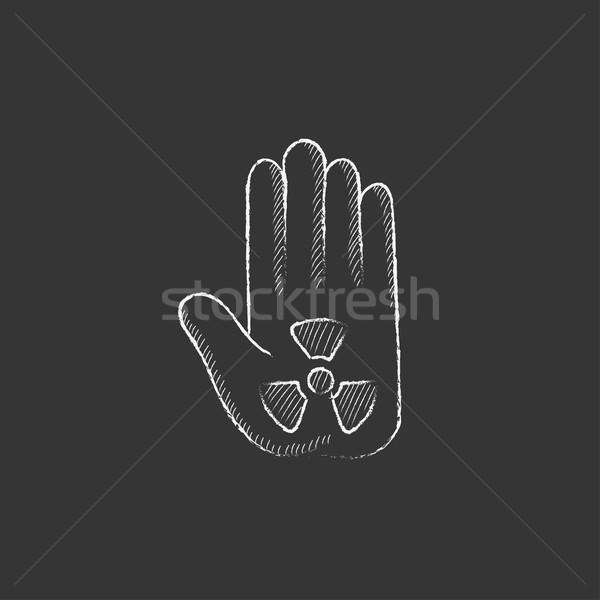 излучение знак Palm мелом икона Сток-фото © RAStudio