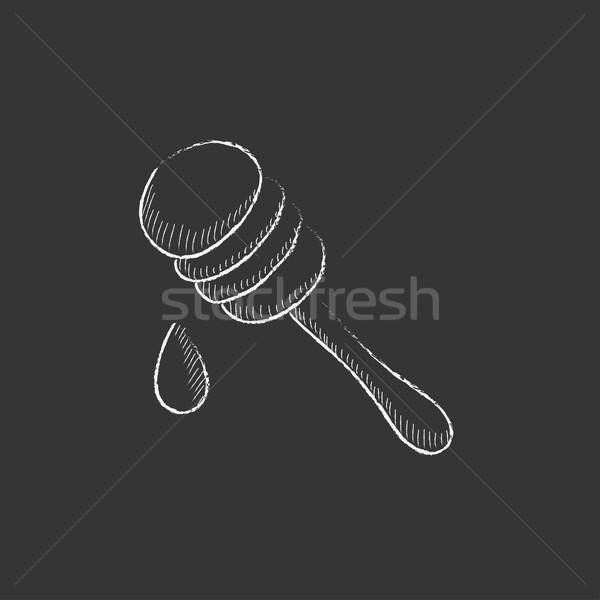 Honey dipper. Drawn in chalk icon. Stock photo © RAStudio